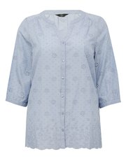 Plus embroidered schiffli lace shirt
