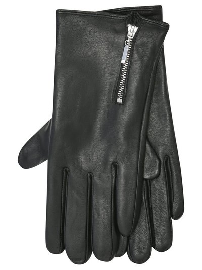 Zip detail leather gloves