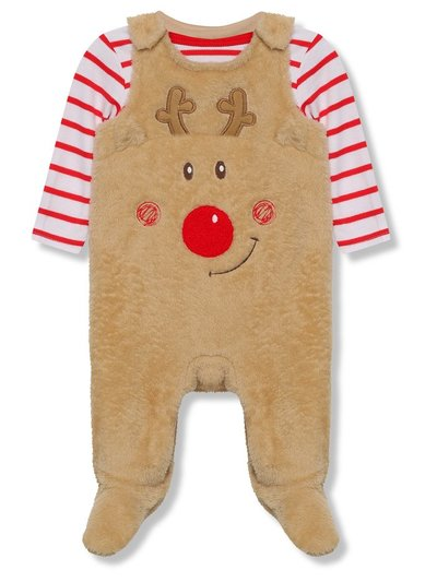 Fluffy reindeer dungarees and bodysuit Christmas set (Newborn - 18 mths)