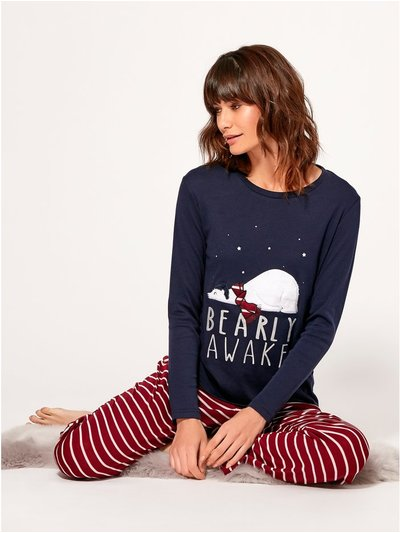 Bear slogan pyjama set