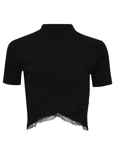 Teen lace trim crop top