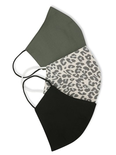 Plain and leopard print face coverings three pack
