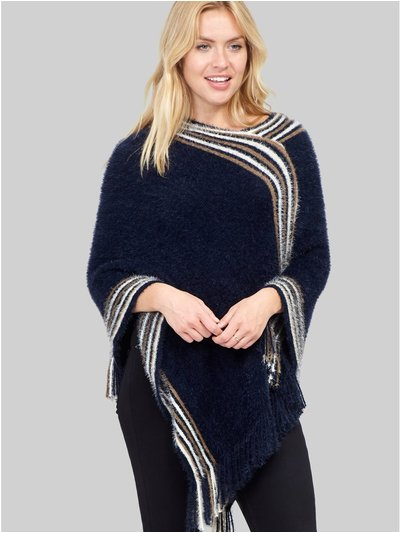 Izabel striped asymmetric poncho