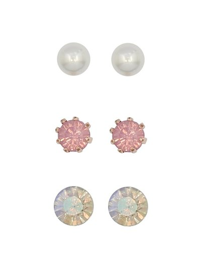 Teen diamante pearl stud earrings three pack