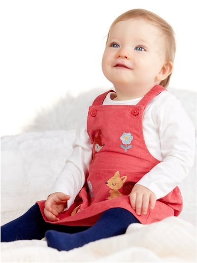Pinafore dress top and tights set (Newborn - 18 mths)