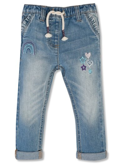 Rainbow embroidered pull on jeans (9mths-5yrs)