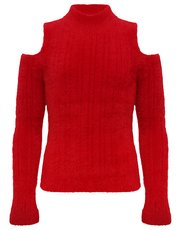 Teens' cold shoulder eyelash knit jumper
