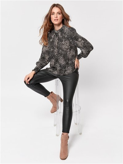 Petite faux leather trousers