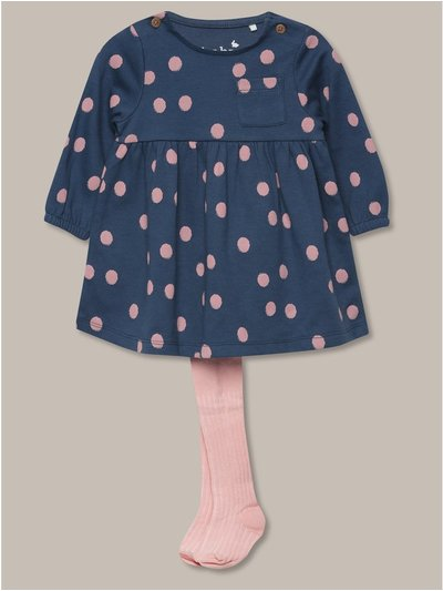 Spotted dress and tights set (Newborn-18mths)