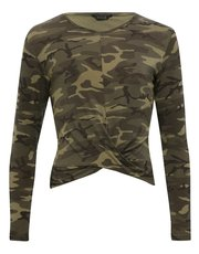 Teen camo print twist front top