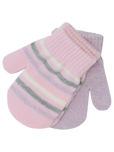 Pink stripe and plain magic mittens two pack