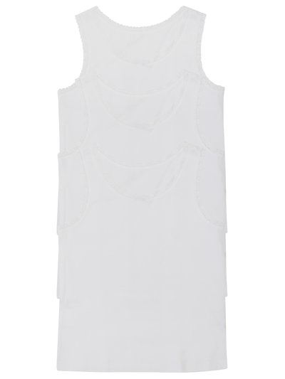 Lace trim cotton vests three pack (2-10yrs)
