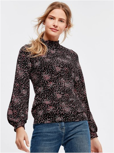 Floral print shirred neck top