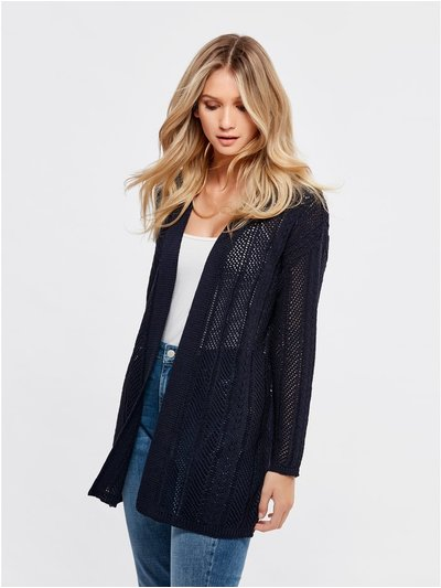 Long pointelle cardigan