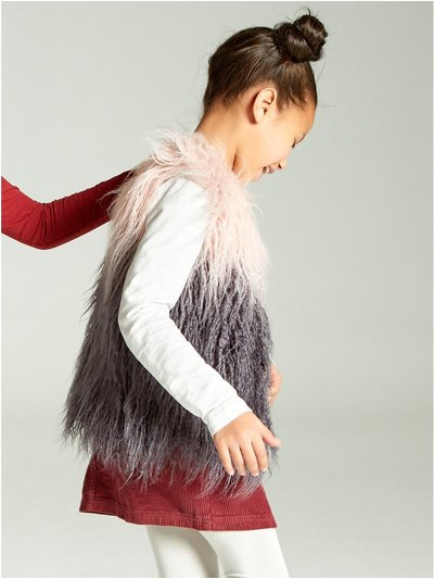 Ombre faux fur gilet (3 - 12 yrs)