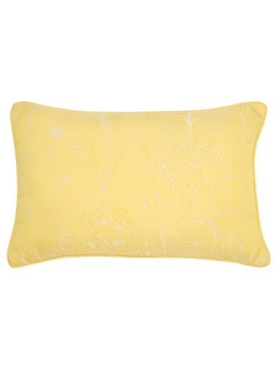 Yellow floral jacquard cushion