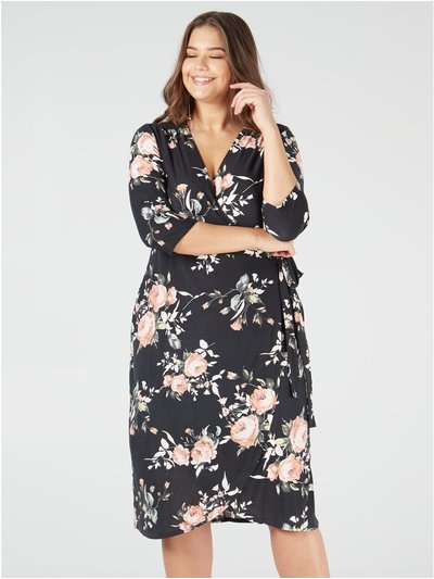Blue Vanilla Curve soft touch floral wrap dress