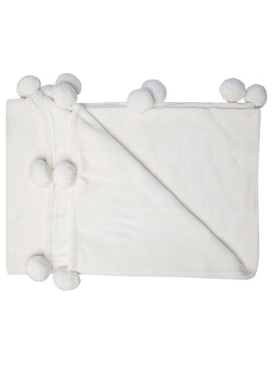 Pom pom fleece throw