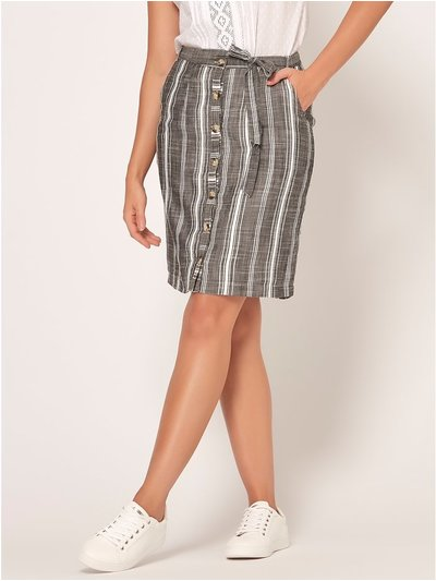 Petite stripe button front skirt