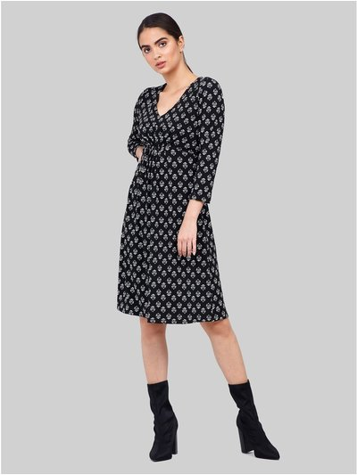 Izabel wallpaper print v-neck dress
