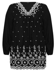Plus embroidered scallop top