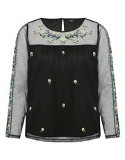Petite floral embroidered mesh top