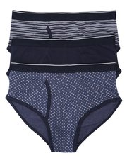 Cotton blend patterned briefs three pack