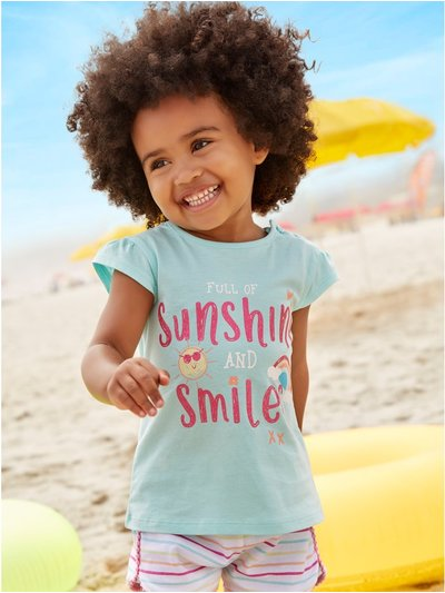 Sunshine and smiles slogan t-shirt (0mths-4yrs)