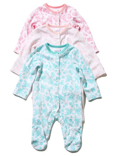 Floral sleepsuits three pack (Tiny baby - 18 mths)
