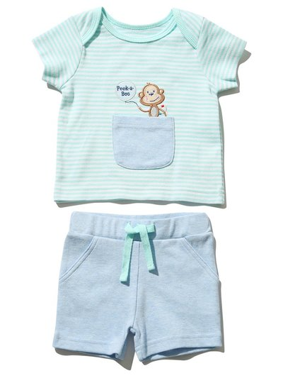 Monkey top and shorts set (Newborn - 18 mths)