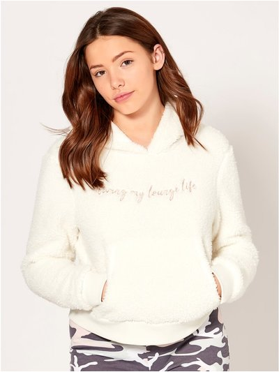Teen slogan fleece lounge hoodie