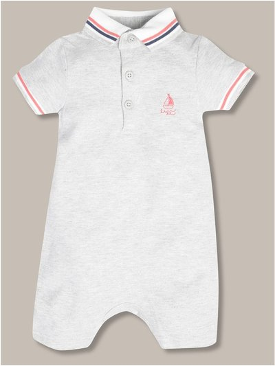 Embroidered polo romper (newborn-18mths)