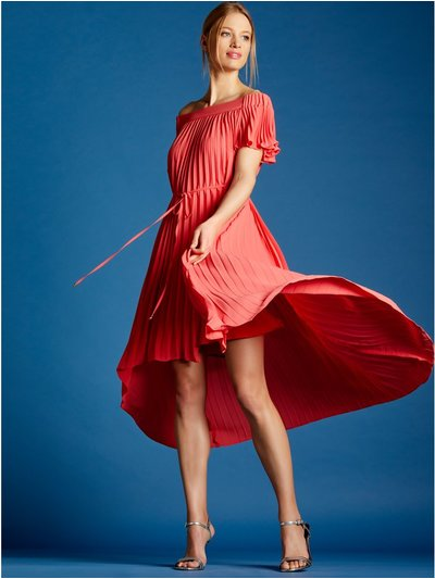 Pleated dip hem bardot dress