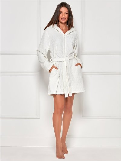 Spot fleece zip front dressing gown