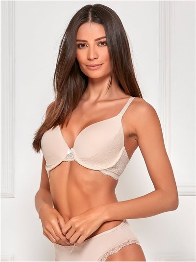 Padded lace side underwire bra
