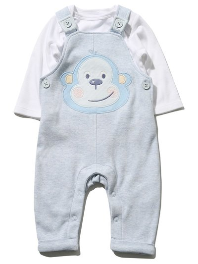 Monkey top and dungaree set (Newborn - 18 mths)