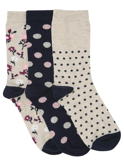 Spot and flower pattern socks three pair pack