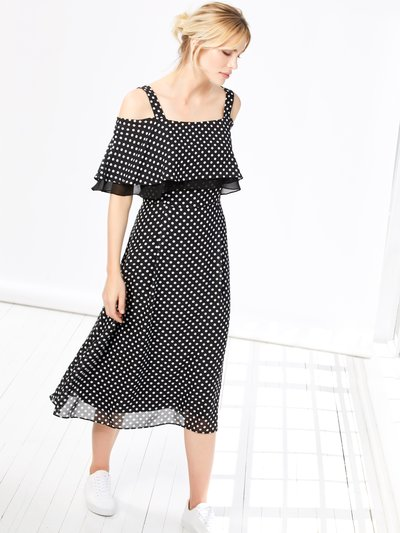 Spot print cold shoulder midi dress