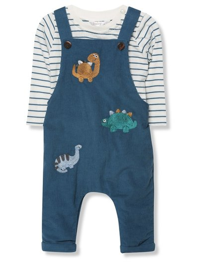Cord dinosaur dungarees and stripe top set (Newborn-18mths)