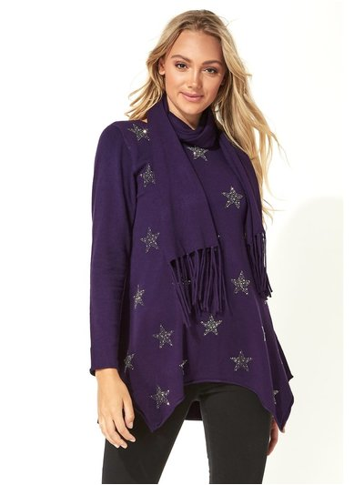 Roman Originals star print knitted tunic with tassel scarf