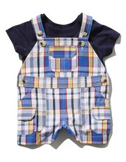 Checked dungarees and top set