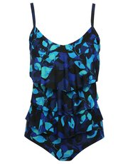 Blue leaves tummy control frill swimsuit