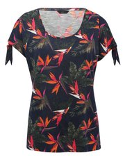 Tropical tie sleeve top