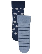 Blue star and stripe grip sole socks two pack