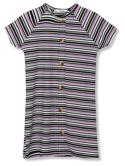 Ribbed stripe button front dress (3 - 12 yrs)