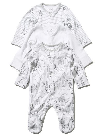 Animal sleepsuits three pack (Tiny baby - 18 mths)