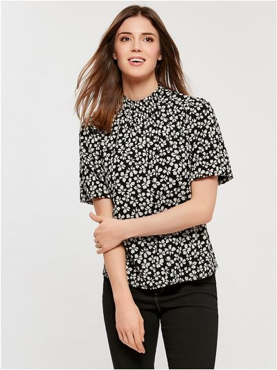 Daisy shirred high neck top