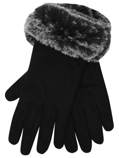 Faux fur suedette gloves