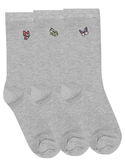 Butterfly Embroidered Socks Three Pair Pack
