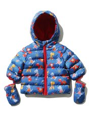 Dinosaur padded jacket with mittens